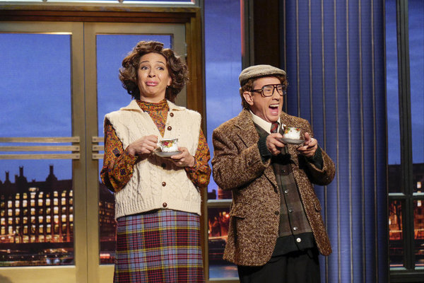 "MAYA & MARTY -- Episode 104 -- Pictured: (l-r) Maya Rudolph as Gertie Biscuits, Martin Short as Wally Dubbins during the ""British Monologue"" sketch on June 21, 2016 -- (Photo by: Steve Fenn/NBC)"