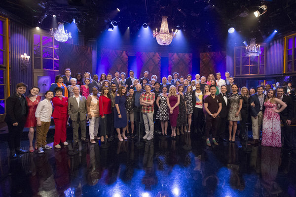 """MAYA & MARTY -- Episode 104 -- Pictured: """"Broadway for Orlando"""" performs """"What the World Needs Now Is Love"""" with Martin Short, Maya Rudolph, and Kenan Thompson on June 21, 2016. """"Broadway for Orlando"""" is comprised of Broadway all-stars including Roger Bar"""