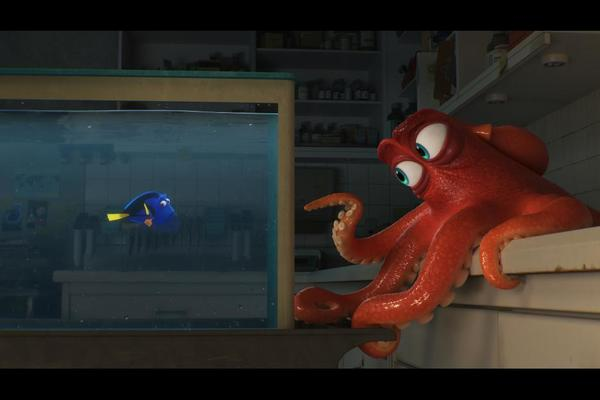 Ed O'Neill voices Hank, a gruff, no-nonsense red octopus.