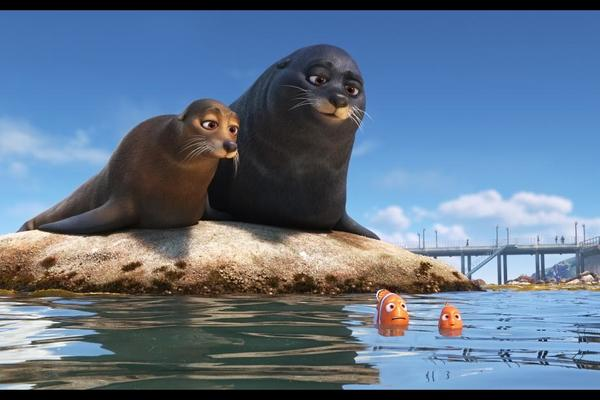 Idris Elba and Dominic West are the friendly sea lions Fluke and Rudder Photo