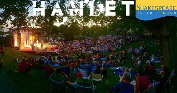 Evening HAMLET: a view of the park and the set after sundown, set by Brian Prather, l Photo