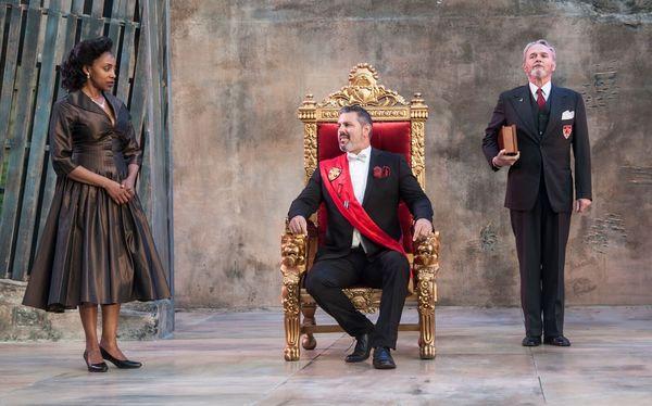 Simone Moore as Queen Gertrude, John Pasha as Claudius, Wynn Harmon as Polonius Photo