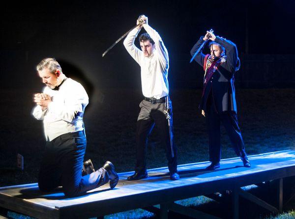 John Pasha as Claudius, Joey Santia as Hamlet and Justin Cunningham as The Ghost