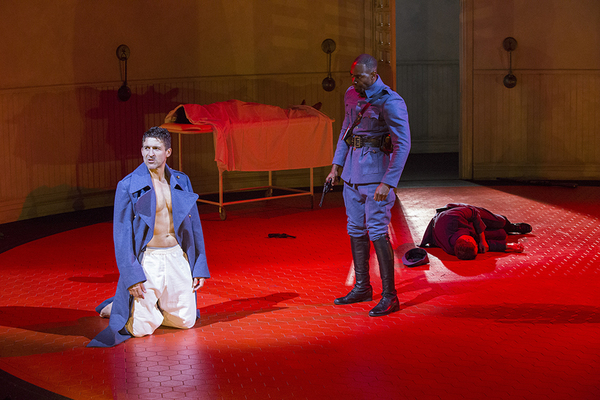 (from left) Jonathan Cake as Macbeth and Clifton Duncan as Macduff in William Shakespeare's Macbeth, directed by Brian Kulick, running June 19 - July 24, 2016 at The Old Globe. Photo by Jim Cox.