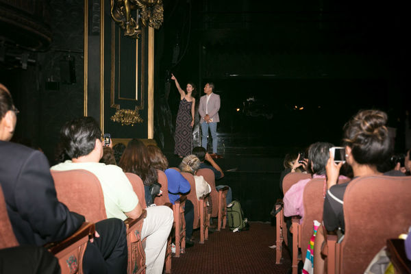 Ali Ewoldt points to the exact seat where she first saw THE PHANTOM OF THE OPERA as a kid with her family.
