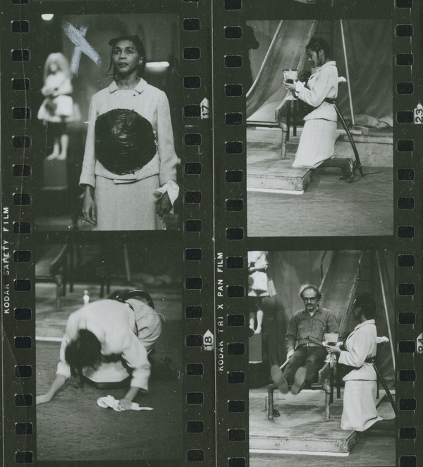 A contact sheet of photographs depicting Mary Alice and others performing Adrienne Kennedy's play 'A Rat's Mass' at La MaMa in 1969. Photographs by Amnon Ben Nomis.
