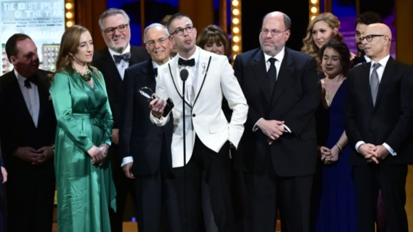 Playwright Stephen Karam accepts the 2016 Tony Award for Best Play on behalf of The Humans. Photo Credit: CBS