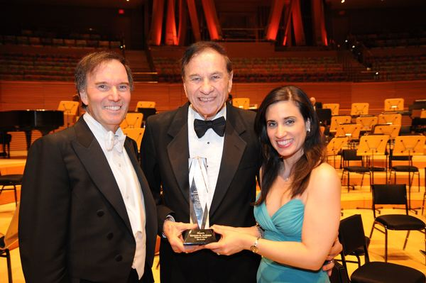 Legendary songwriter Richard M. Sherman receives the LA Lawyers Philharmonics prestigious June Lockhart Humanitarian Award (the Junie from Maestro Gary S. Greene and Executive Director Debra Marisa Kaiser.