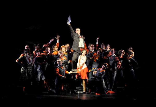 Gabi Carrubba as Millie and Mark Linehan as Trevor Graydon (center) and ensemble perform 'The Speed Test'