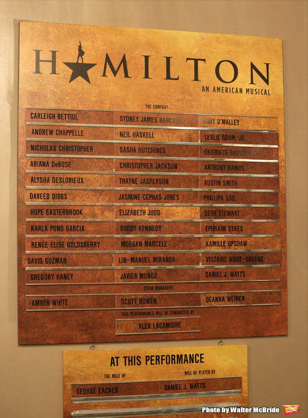 Lobby cast board for Lin-Manuel Miranda during his final performance of 'Hamilton' on Broadway at Richard Rodgers Theatre on July 9, 2016 in New York City.