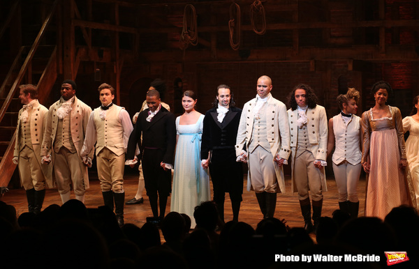 Leslie Odom Jr., Phillipa Soo and Christopher Jackson with Lin-Manuel Miranda