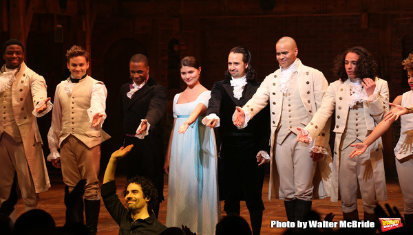 Conductor Alex Lacamoire, Leslie Odom Jr., Phillipa Soo and Christopher Jackson with Lin-Manuel Miranda