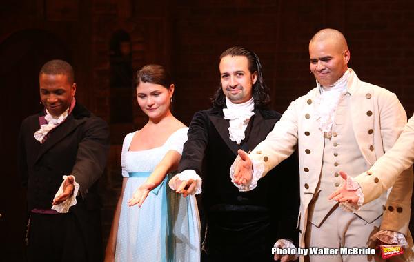 Leslie Odom Jr., Phillipa Soo and Christopher Jackson with Lin-Manuel Miranda