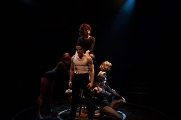 The girls of Cell Block Tango: From Left: Ashley DeLane Burger (Liz), Beatrice Crosbie (June), Conor Robert Fallon (Fred Casely), Emily Louise Franklin [Blonde] (Mona), and Amy Laviolette (Annie)