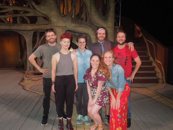 "•	BACK: Eric Roberts (""Ensemble�), Sydney Germaine (""Puck�), Polley Cooney (""Ensemble�), James Smart (Mustardseed), Mitchell Spencer (""Snug�) •	FRONT: Rebecca Keeshin (""Ensemble�), Dina Monk (""First Fairy�)"