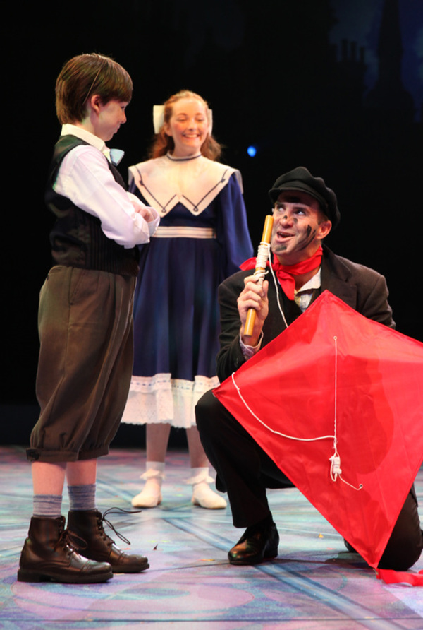 Brad Bradley (Bert) with Scarlett Keene-Connole (Jane Banks) and Jake Ryan Flynn (Michael Banks) in North Shore Music Theatre''s production of MARY POPPINS playing July 12 - July 31, 2016. Photo © Paul Lyden.