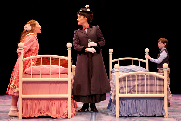 Kerry Conte (Mary Poppins) with Scarlett Keene-Connole (Jane Banks) and Jake Ryan Fly Photo