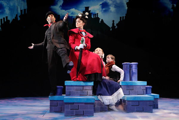 Brad Bradley (Bert) and Kerry Conte (Mary Poppins) with Scarlett Keene-Connole (Jane Banks) and Jake Ryan Flynn (Michael Banks) in North Shore Music Theatre''s production of MARY POPPINS playing July 12 - July 31, 2016. Photo © Paul Lyden.
