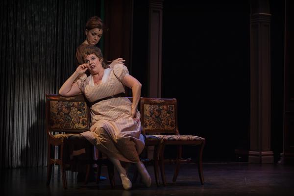 Jane Austen (Lindsie VanWinkle) listens on as Mrs. Bennet (Alison England) laments about her daughter Elizabeth rejecting a marriage proposal