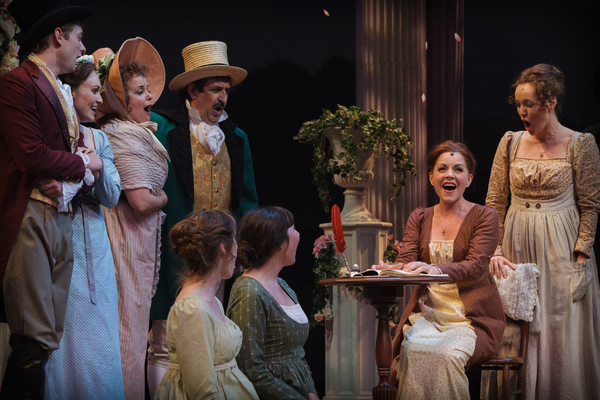 Jane Austen (Lindsie VanWinkle) and her characters celebrate the completion of their story