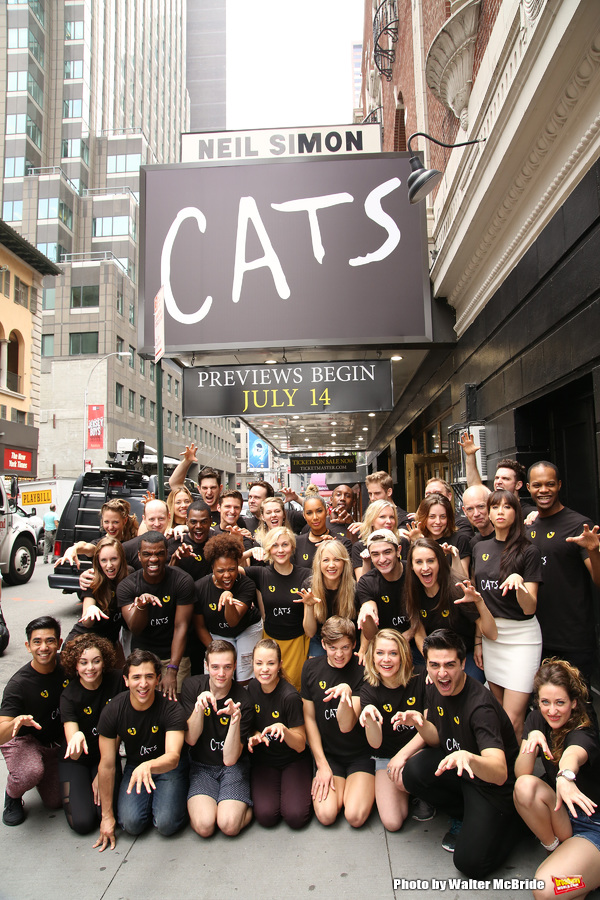 The new generation of 'Cats' Historic cast portrait outside the  Neil Simon Theatre on July 14, 2016 in New York City.