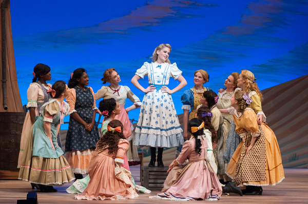 """Laurey (Anne Horak) sings """"Many a New Day"""" with the girls."""