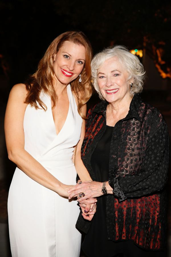 """From left, cast members Rachel York and Betty Buckley pose during the party for the opening night performance of """"Grey Gardens"""" The Musical at Center Theatre Group/Ahmanson Theatre on Wednesday, July 13, 2016, in Los Angeles, California. (Photo by Ryan Mi"""