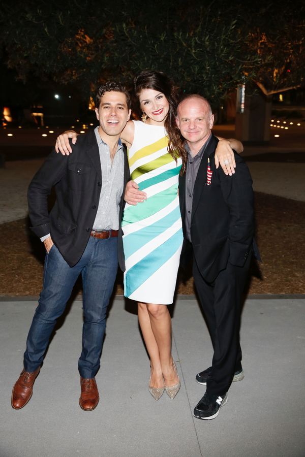 "From left, cast members Josh Young, Sarah Hunt and director Michael Wilson pose during the party for the opening night performance of ""Grey Gardens"" The Musical at Center Theatre Group/Ahmanson Theatre on Wednesday, July 13, 2016, in Los Angeles, Californ"