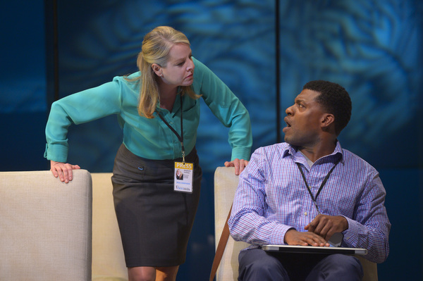 Journalist Stephanie (Tasha Lawrence) questions her colleague Will (Richard Prioleau) Photo