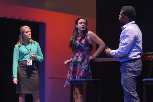 Journalist Stephanie (Tasha Lawrence) interrupts a conversation between Maddie (Jessica Lynn Carroll), the daughter of a presidential candidate, and fellow journalist Will (Richard Prioleau)