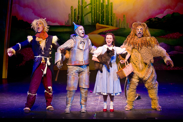 Stephen Petrovich (Scarecrow), Danny Rothman (Tinman), Devon Perry (Dorothy), Dusty (Toto), and Richard E. Waits (Lion)