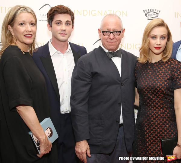 Linda Emond, Logan Lerman, director James Schamus and Sarah Gadon