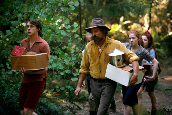 Left to right, George MacKay stars as Bo, Nicholas Hamilton as Rellian, Viggo Mortensen as their dad Ben, Annalise Basso as Vespyr and Samantha Isler as Kielyr in CAPTAIN FANTASTIC, a Bleecker Street release.Credit: Erik Simkins / Bleecker Street