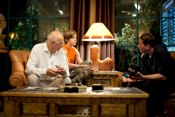 Left to right, Actors Frank Langella and Nicholas Hamilton discuss a scene with Director Matt Ross on the set of their film CAPTAIN FANTASTIC, a Bleecker Street release.Credit: Cathy Kanavy / Bleecker Street