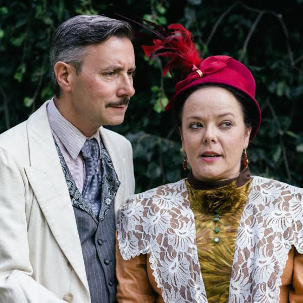 Ross Shirley, with (from left to right) Sonda Staley as Sir Robert and Lady Chiltern  Photo