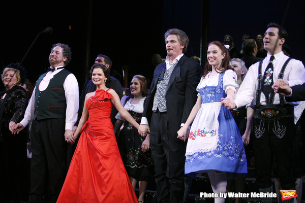 Marni Nixon, Tom Alan Robbins, Kristin Chenoweth,  Joy Hermalyn, Douglas Sills, Sierra Boggess, Ryan Silverman & David Schrammduring the final performance curtain call for the NY City Center ENCORES!  production of MUSIC IN THE AIR  in New York City.Febru