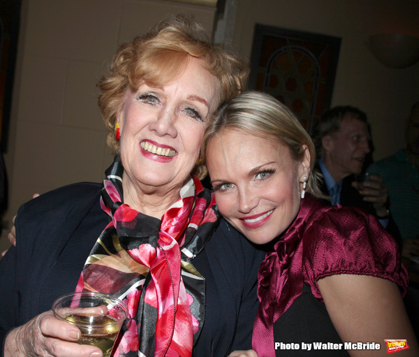Marni Nixon and Kristin Chenoweth after the final performance curtain call for the NY City Center ENCORES!  production of MUSIC IN THE AIR  in New York City.February 8, 2009