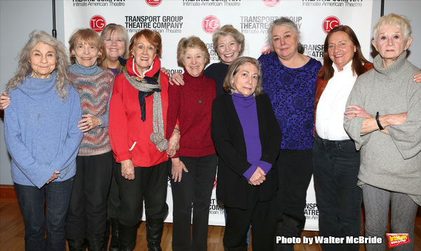 Lynn Cohen, Rita Gardner, Heather MacRae, Marni Nixon, Alice Cannon, Phyllis Somerville, Letty Serra, Barbara Andres, Dale Soules, and Barbara Barrie attend the Meet & Greet the cast of Transport Group's 'I Remember Mama'  on February 12, 2014 at the Clin