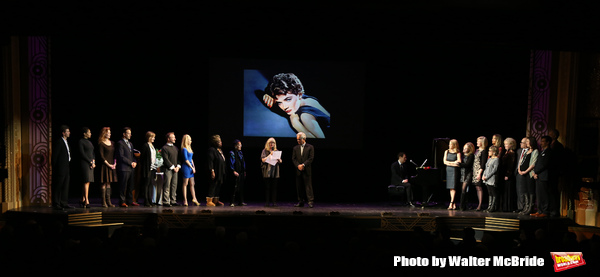 'Follies' reunion featuring Marni Nixon, Judith Ivey, Gregory Harrison, Kelli O'Hara with Michael Feinstein at the piano during a  'A Tribute to Polly Bergen' at the American Airlines Theatre on March 26, 2015 in New York City.