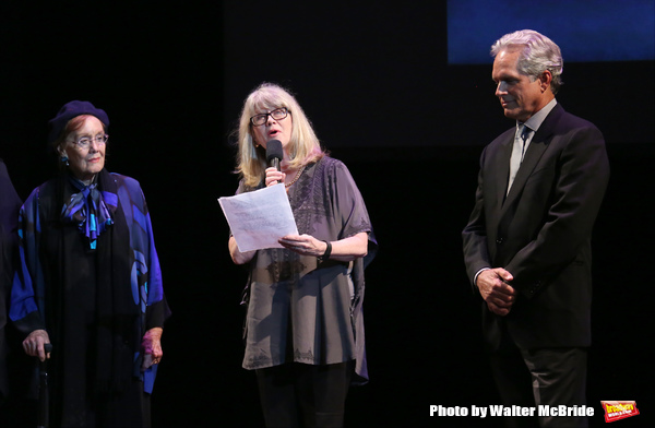 'Follies' reunion featuring Marni Nixon, Judith Ivey, Gregory Harrison on stage at 'A Tribute to Polly Bergen' at the American Airlines Theatre on March 26, 2015 in New York City.