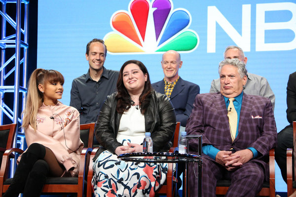 NBCUNIVERSAL EVENTS -- NBCUniversal Summer Press Tour, August 2, 2016 -- NBC''s ''Hairspray Live!'' Panel -- Pictured: (l-r) Back Row: Alex Rudzinski, Live Television Director; Neil Meron, Executive Producer; Front Row: Derek Hough, Ariana Grande, Maddie