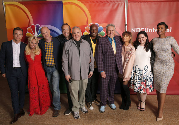 NBCUNIVERSAL EVENTS -- NBCUniversal Summer Press Tour, August 2, 2016 -- NBC''s ''Hairspray Live!'' cast -- Pictured: (l-r) Derek Hough, Kristin Chenoweth, Neil Meron, Executive Producer; Alex Rudzinski, Live Television Director; Craig Zadan, Executive Pr