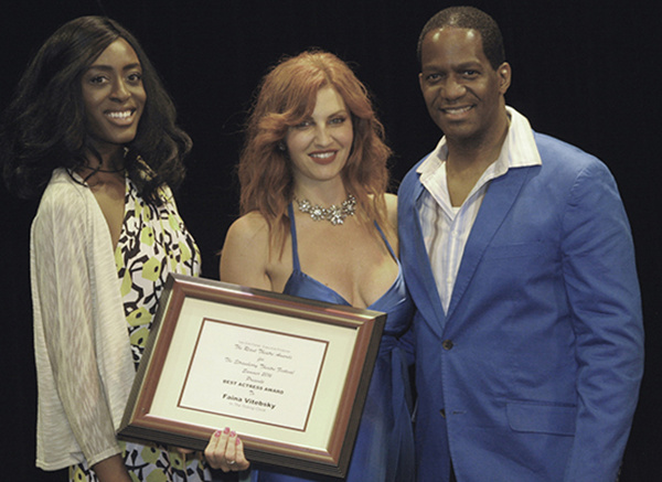L to R: Martina Antoinette De Truff, Faina Vitebsky - Best Actress Award in the STF (Long One Act Plays), and Van Dirk Fisher. Photo by Kurt Anthony.