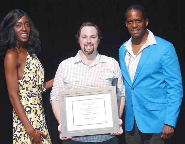 L to R: Martina Antoinette De Truff, James Parks - Best Actor Award in a Musical for MISSING GEMINI in the STF, and Van Dirk Fisher. Photo by Kurt Anthony.