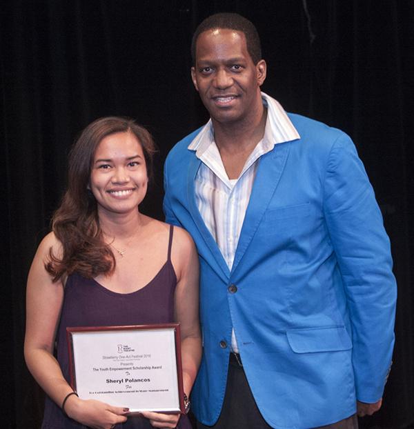 Sheryl Polancos - Youth Empowerment Scholarship Award ($1,500) and Van Dirk Fisher. Photo by Kurt Anthony.