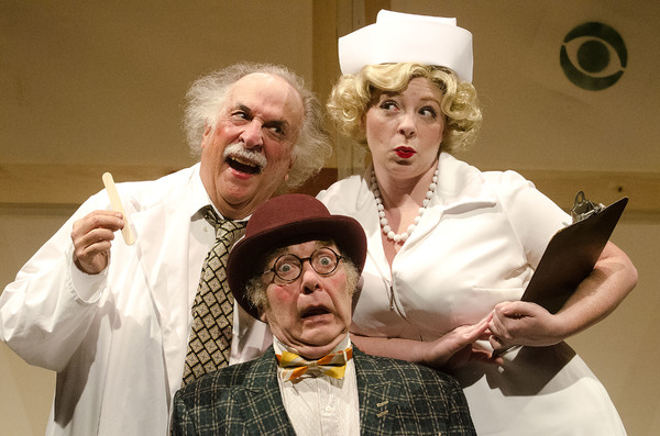 Bob Colonna as Willie Clark, F. William Oakes as Al Lewis, and Lauren Ustaszewski as The Actress in The Sunshine Boys, by Neil Simon.