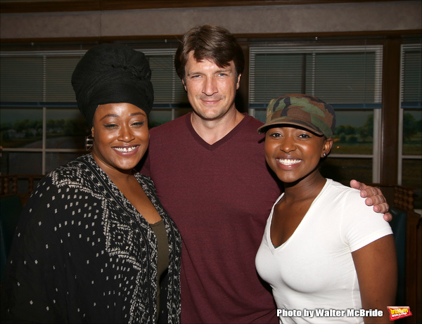 Charity Angelo Dawson and Aisha Jackson with Nathan Fillion