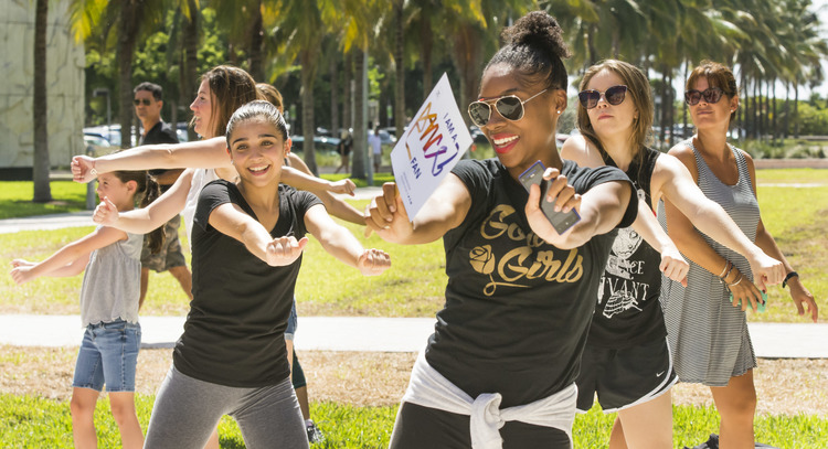 High Res Dance fans showing off their moves during the flash mob in Collins Park.