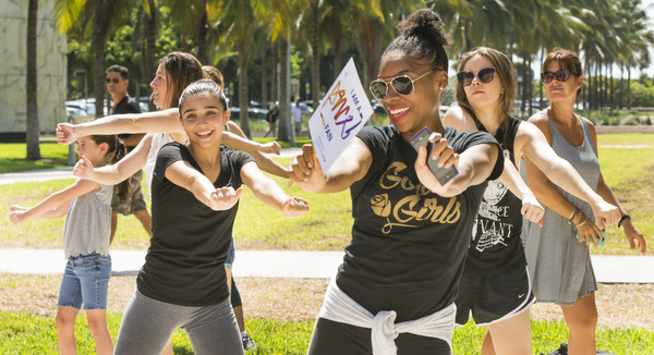 Dance fans showing off their moves during the flash mob in Collins Park.