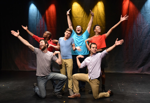 Conor McGarry (center) with (clockwise from left) Maxwell J. DeTogne, Korey White, Vasily Deris, Jerome White and Francisco Lopez in Rogue Elephant Productions' PLANTED, co-conceived by Christopher Pazdernik and Jeff Bouthiette, music & lyrics by Jeff B